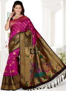 Weaving Art Silk Pink Traditional Saree