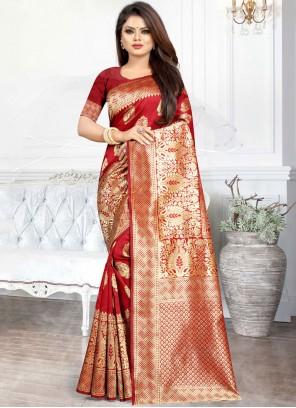 Weaving Art Silk Red Casual Saree