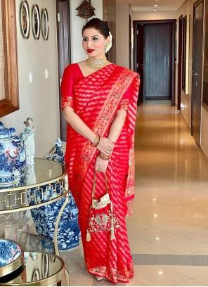 Weaving Art Silk Red Classic Designer Saree