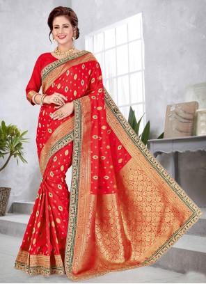 Weaving Art Silk Red Designer Traditional Saree