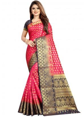 Weaving Art Silk Rose Pink Designer Traditional Saree