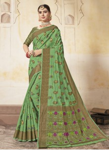 Green Weaving Art Silk Saree