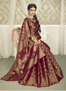 Wine Weaving Art Silk Saree