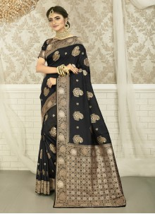 Black And Beige Weaving Art Silk Saree