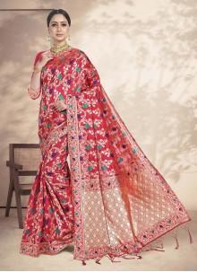 Pink Weaving Art Silk Festival Saree