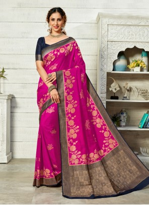 Hot Pink Weaving Art Silk Traditional Designer Saree