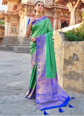 Sea Green Weaving Art Silk Traditional Designer Saree