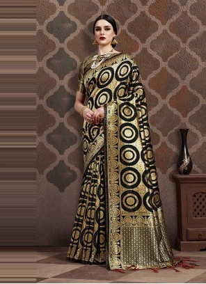 Weaving Art Silk Traditional Designer Saree in Black
