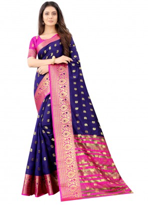Weaving Art Silk Traditional Designer Saree in Blue