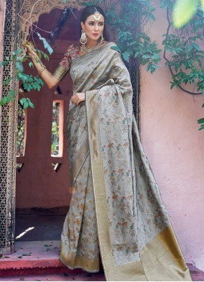 Weaving Art Silk Traditional Designer Saree in Grey