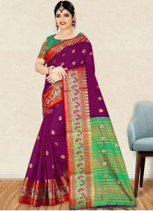 Weaving Art Silk Traditional Designer Saree in Purple