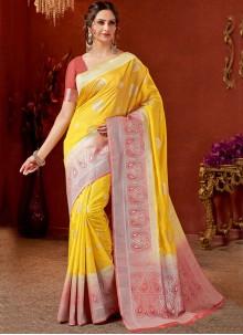 Mustard Weaving Art Silk Traditional Saree