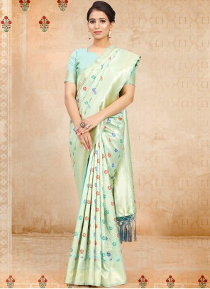 Aqua Blue Weaving Art Silk Traditional Saree
