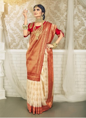 Off White And Red Weaving Art Silk Traditional Saree