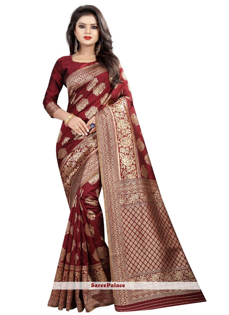 Maroon Weaving Art Silk Traditional Saree