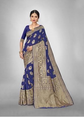 Navy Blue Weaving Art Silk Trendy Saree