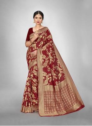 Maroon Weaving Art Silk Trendy Saree