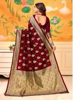 Weaving Art Silk Trendy Saree in Maroon