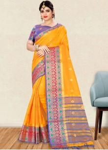 Weaving Art Silk Yellow Traditional Designer Saree