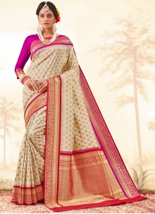 Weaving Banarasi Jacquard Cream Traditional Saree