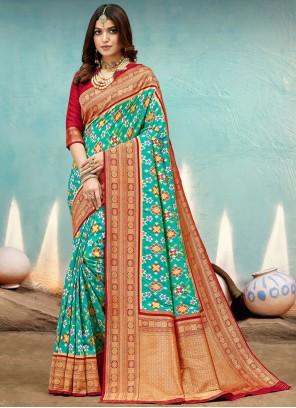 Weaving Banarasi Silk Aqua Blue Traditional Designer Saree