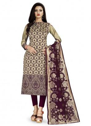Weaving Banarasi Silk Beige Churidar Salwar Suit