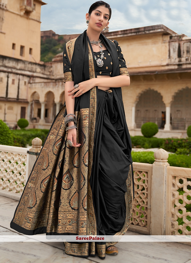 Weaving Banarasi Silk Black Contemporary Saree