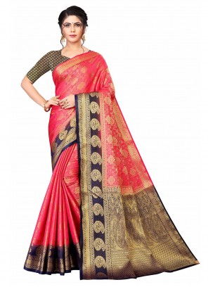 Weaving Banarasi Silk Blue and Hot Pink Traditional Designer Saree