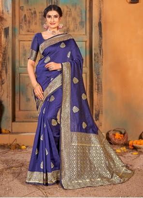 Weaving Banarasi Silk Blue Classic Saree