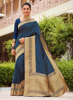 Weaving Banarasi Silk Blue Designer Traditional Saree