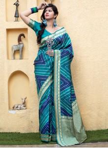Weaving Banarasi Silk Blue Traditional Saree