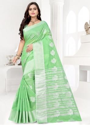 Weaving Banarasi Silk Green Bollywood Saree