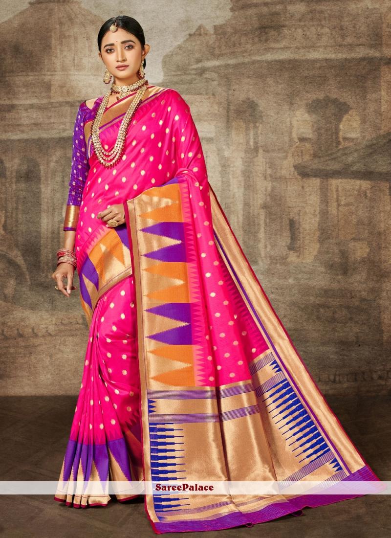 Weaving Banarasi Silk Bollywood Saree in Pink