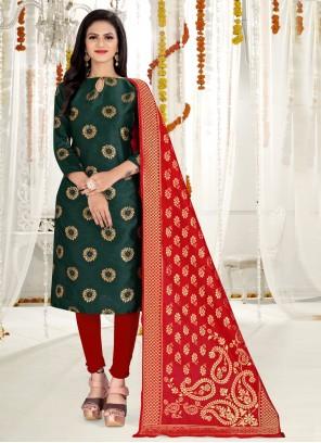 Weaving Banarasi Silk Churidar Green Salwar Suit