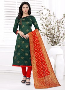 Weaving Banarasi Silk Churidar Green Salwar Suit