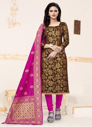 Weaving Banarasi Silk Churidar Salwar Suit in Brown