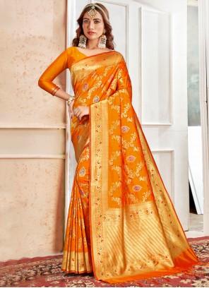 Weaving Banarasi Silk Classic Saree in Orange