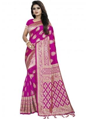 Weaving Banarasi Silk Classic Saree in Pink