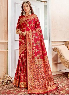 Weaving Banarasi Silk Classic Saree in Red