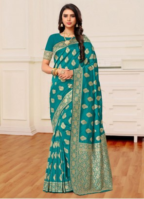 Weaving Banarasi Silk Classic Saree in Teal