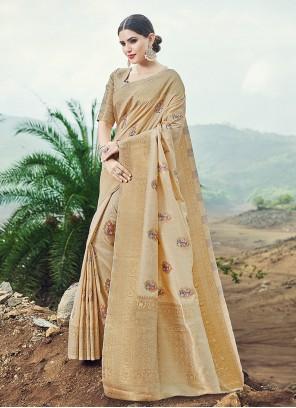 Weaving Banarasi Silk Designer Saree in Beige