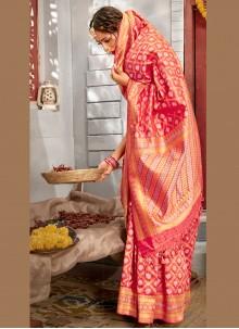 Weaving Banarasi Silk Designer Pink Traditional Saree