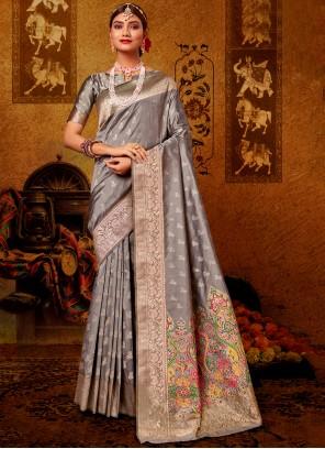 Weaving Banarasi Silk Designer Grey Traditional Saree
