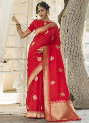 Red Weaving Banarasi Silk Designer Traditional Saree
