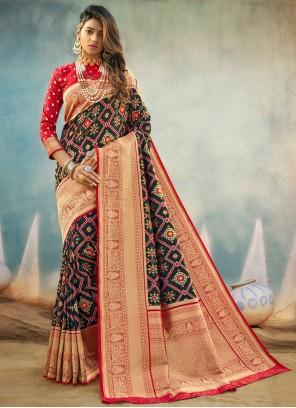 Weaving Banarasi Silk Designer Traditional Saree in Black