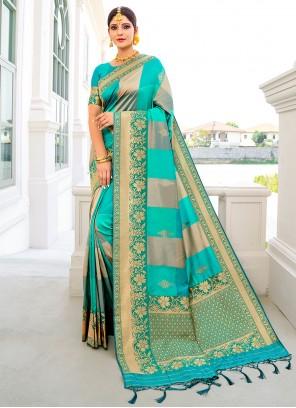 Weaving Banarasi Silk Designer Traditional Saree in Blue