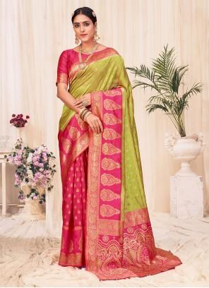 Weaving Banarasi Silk Designer Traditional Saree in Green and Pink