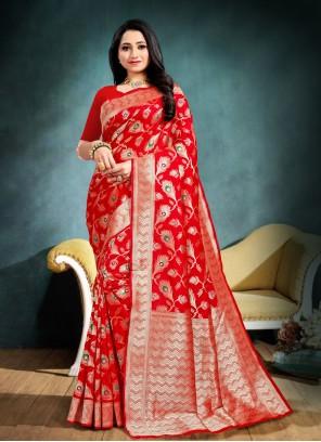 Weaving Banarasi Silk Designer Traditional Saree in Red