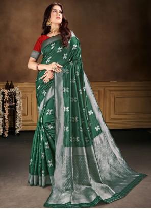 Weaving Banarasi Silk Green Contemporary Saree