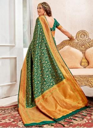 Weaving Banarasi Silk Green Contemporary Style Saree